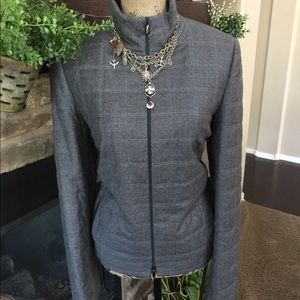 Adrienne Vittadini Quilted Grey Wool Moto Jacket